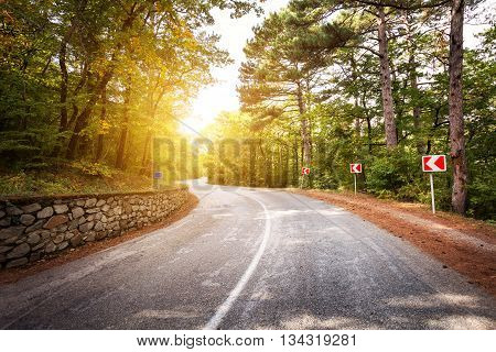Beautiful landscape with asphalt roadgreen forest and road sign at colorful sunrise in summer. Crimean mountains.Travel background