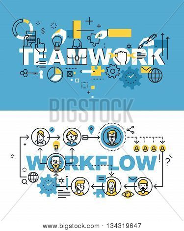 Set of modern vector illustration concepts of words teamwork and workflow. Thin line flat design banners for website and mobile website, easy to use and highly customizable.