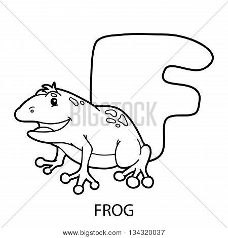 animal alphabet coloring page. Vector illustration of educational alphabet coloring page with cartoon animal for kids