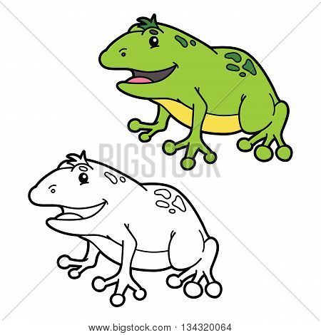 funny frog coloring page . Vector illustration coloring page with happy cartoon frog for children, coloring and scrap book