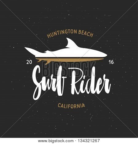 Surf rider t-shirt vector graphics. California related apparel design. Vintage style illustration.