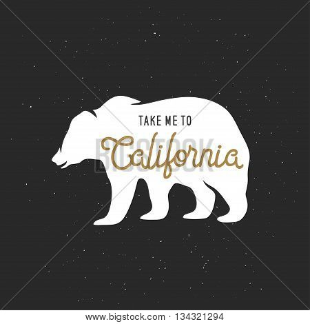 Take me to California t-shirt vector graphics. California related apparel design. Vintage style illustration.