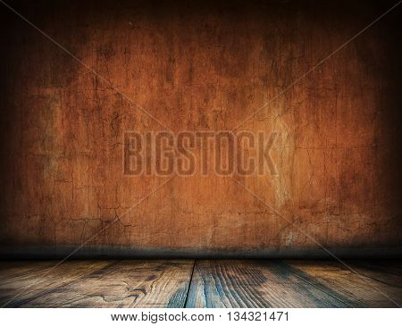 Old interior background for montage or product presentation. Room template. Table template. Interior template. 3D illustration