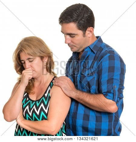 Divorce, Conflicts in marriage - Hispanic man consoling her sad wife - Isolated on white