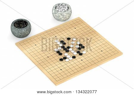 Go game 3D rendering isolated on white background