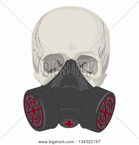 human skull bones skeleton dead respirator anatomy illustration