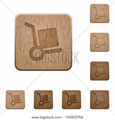 Set of carved wooden parcel delivery buttons in 8 variations.