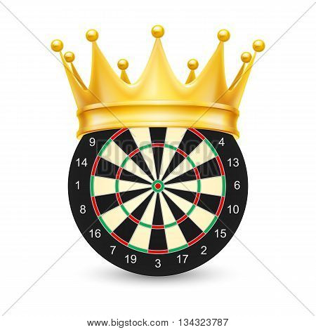 Golden crown on Dart Board isolated on white background