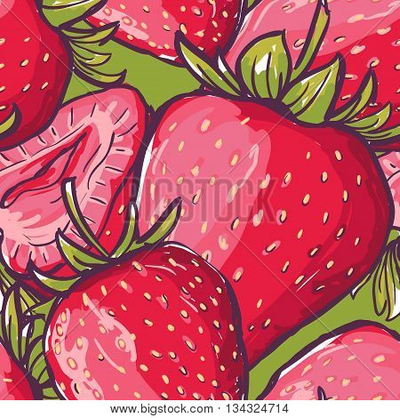 Vector Seamless Pattern With Close-up Red Strawberries. Colorful Summer Background With Berries. Des