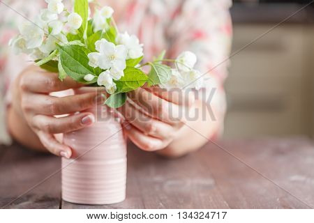 Hands Holding Bouquet Of Beautiful White Flowers