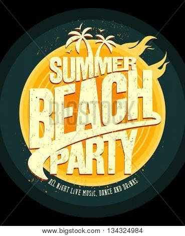 Summer beach party poster design