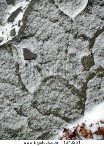 """Winter"": Snowy Rock With Abstract Animal Face"