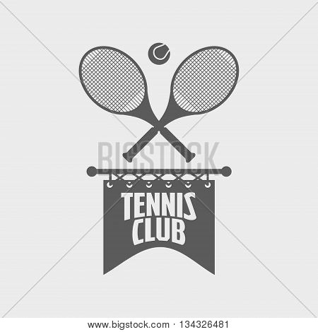 Tennis Club Logo Or Label Design Template With Two Tennis Rackets And Ball
