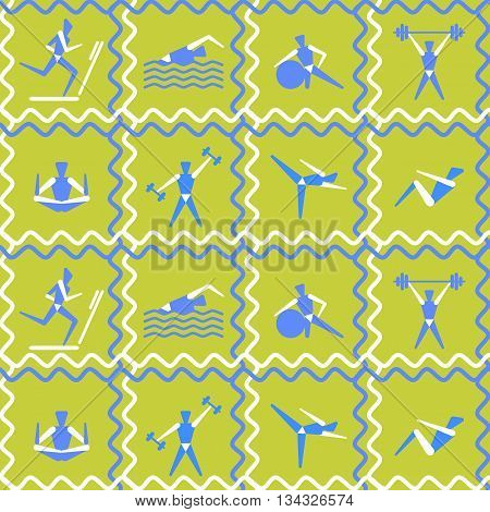 Vector pattern stylized people perform exercises. Fitness concept.