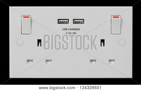 UK double plug socket with built in USB charger