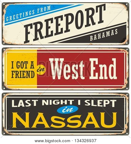 Retro tin sign collection with Bahamas cities. Vintage vector souvenir sign or postcard layout.