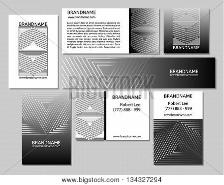 Vector set of business cards flayers banners with triangle pattern on a black gray background. Modern abstract style linear ornament.