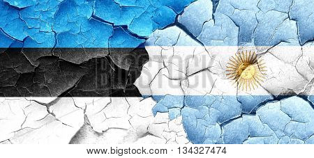 estonia flag with Argentine flag on a grunge cracked wall