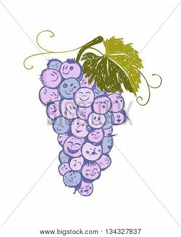 bunch of grapes with cheerful funny faces