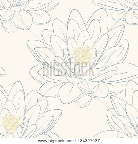 Beautiful seamless pattern with lotus flowers. Hand-drawn contour lines and strokes. Perfect for background greeting cards and invitations of the wedding birthday