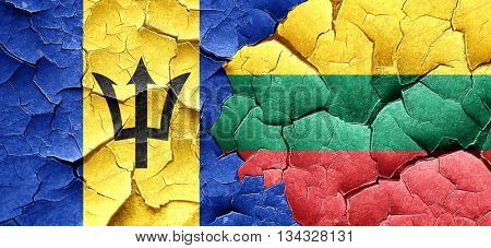 Barbados flag with Lithuania flag on a grunge cracked wall