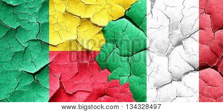Benin flag with Italy flag on a grunge cracked wall