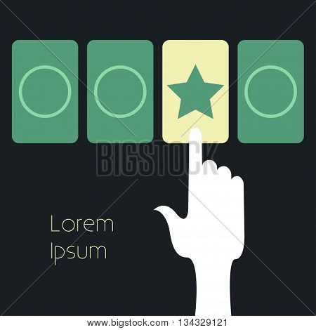 Online test. Vector illustration The hand presses one of the response options online test. The online choice test