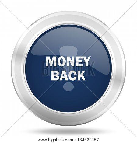 money back icon, dark blue round metallic internet button, web and mobile app illustration