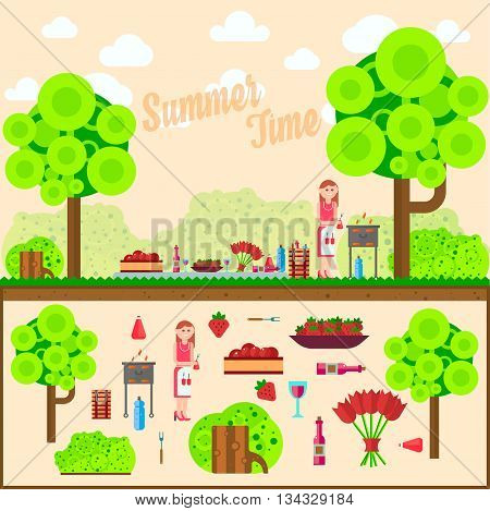 Fruit, wine, barbecue, grill on the grass. Summer picnic on meadow. Vector flat illustrations for website, mobile, banners, brochures covers layouts