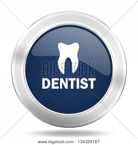 dentist icon, dark blue round metallic internet button, web and mobile app illustration