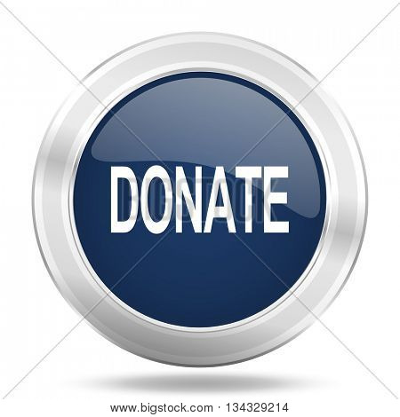 donate icon, dark blue round metallic internet button, web and mobile app illustration