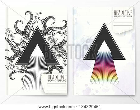 Notebook template with abstract triangle cover. Vector illustration.