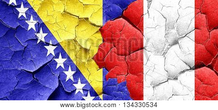 Bosnia and Herzegovina flag with Peru flag on a grunge cracked w