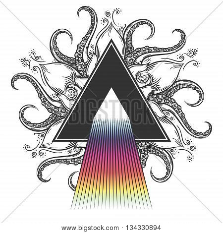 Dispersion abstract illustration on hand drawn nautical mandala.