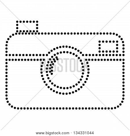 Digital photo camera sign. Dot style or bullet style icon on white.