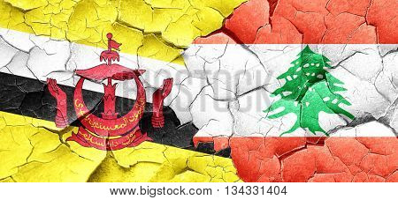 Brunei flag with Lebanon flag on a grunge cracked wall