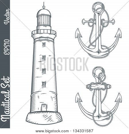 Hand drawn nautical illustrations. Vector marine objects.