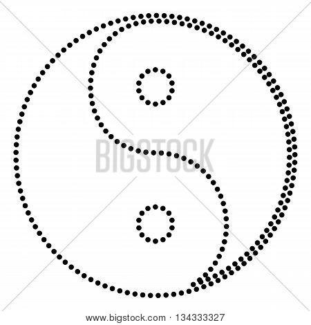 Ying yang symbol of harmony and balance. Dot style or bullet style icon on white.