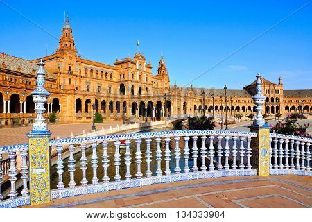Ornate Bridges Over The Canals Of Plaza De Espana, Sevilla, Spain