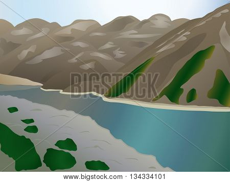Picturesque landscape with a lake in the mountains