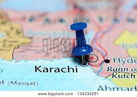 Karachi pinned on a map of Pakistan