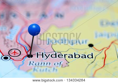 Hyderabad pinned on a map of Pakistan