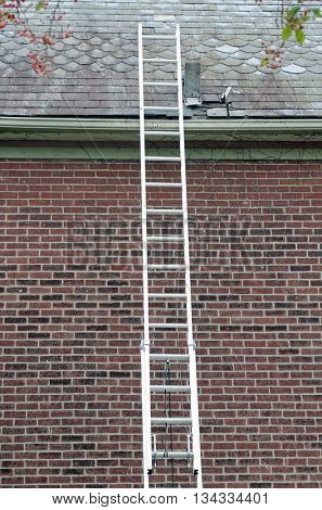Ladder Against Slate Roof With Tools