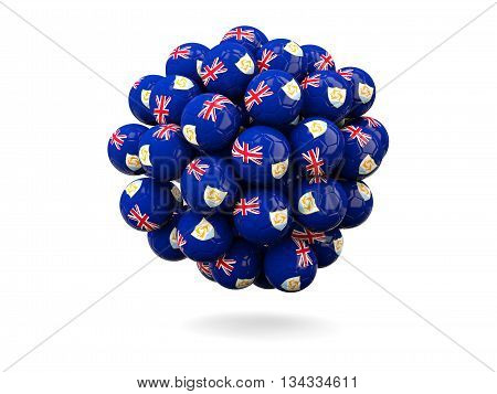 Pile Of Footballs With Flag Of Anguilla