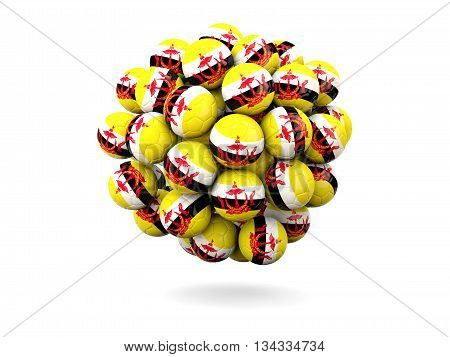 Pile Of Footballs With Flag Of Brunei