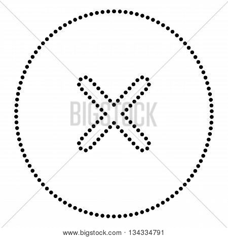 Cross sign illustration. Dot style or bullet style icon on white.