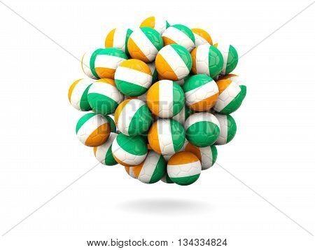 Pile Of Footballs With Flag Of Cote D Ivoire