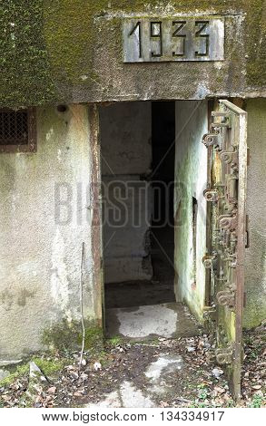 French Bunker Entrance Near Langensoultzbach, Vosges, France. It Was Built 1933 As Part Of The Magin