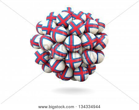 Pile Of Footballs With Flag Of Faroe Islands