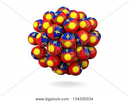 Pile Of Footballs With Flag Of Guadeloupe
